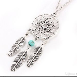 Jewelry - Dream catcher necklace silver and turquoise